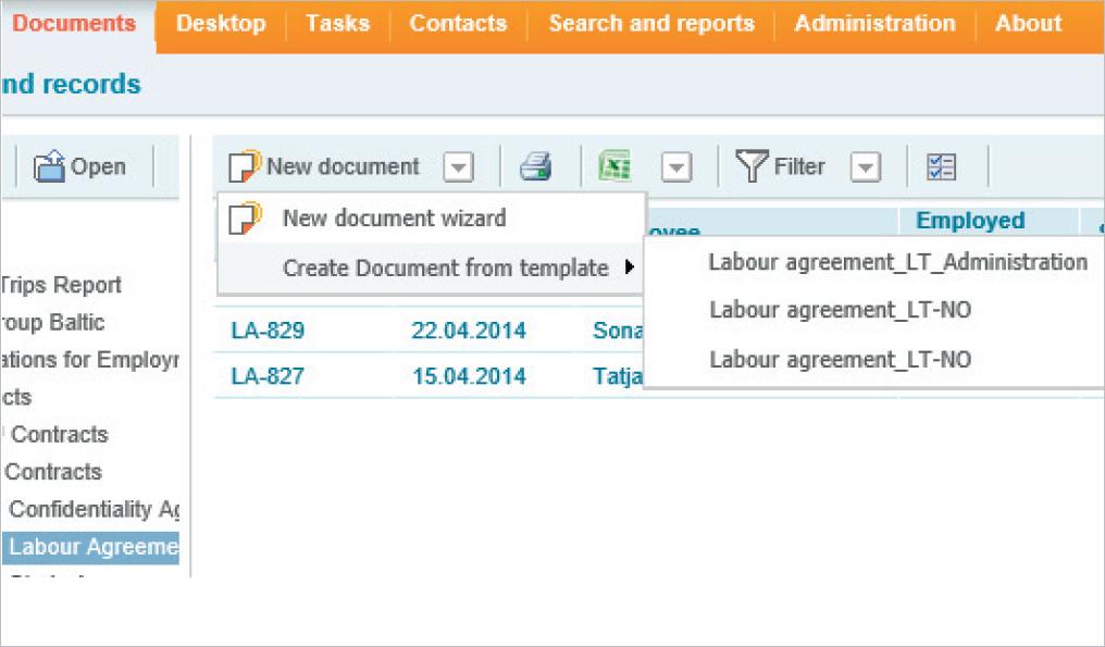 Document templates / blanks